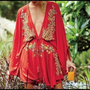 Free People Red Pretty Pineapple Dress